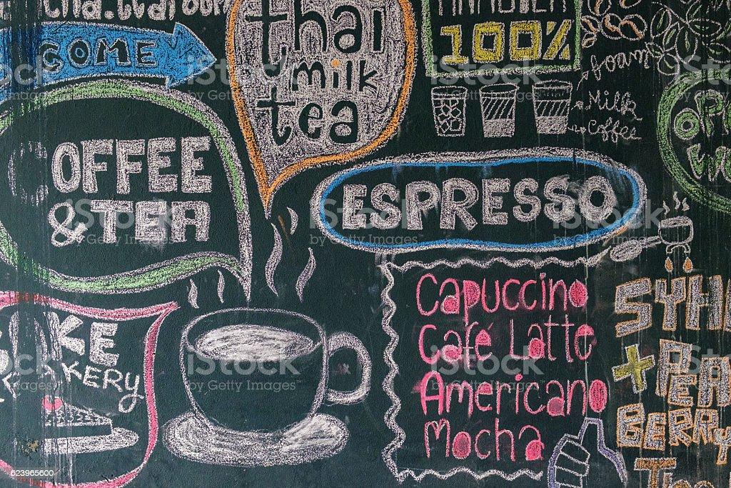 Sign menu coffee and tea stock photo