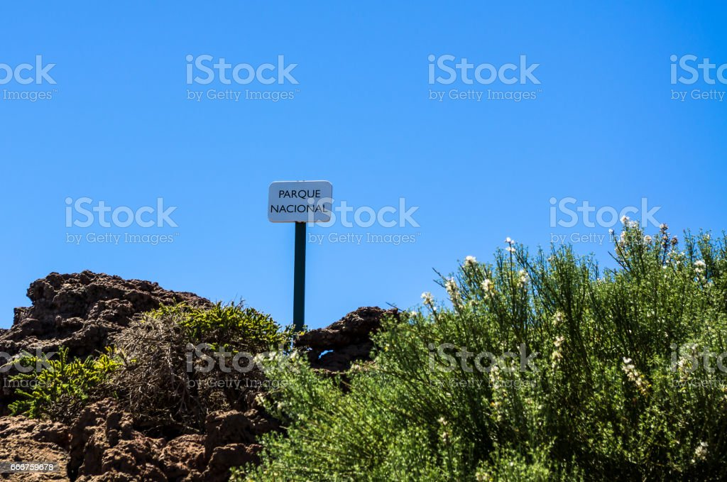 Sign Parque Nacional on top of Roque de los Muchachos, La Palma foto stock royalty-free