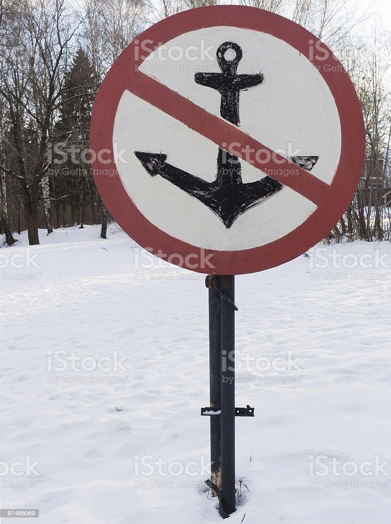 sign no anchor royalty-free stock photo