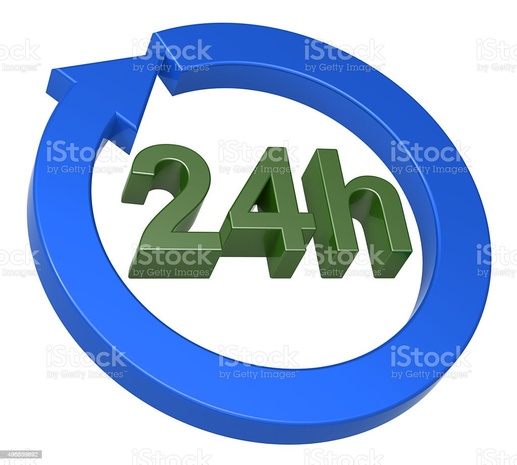 Sign of 24 hours delivery stock photo