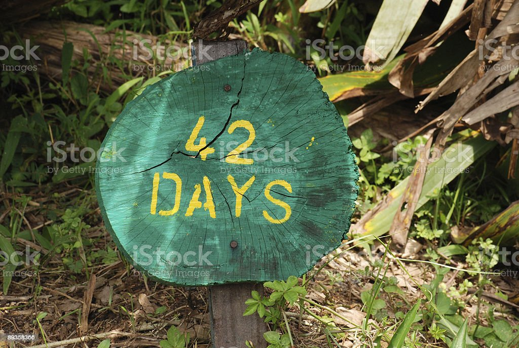 sign of 42 days royalty free stockfoto