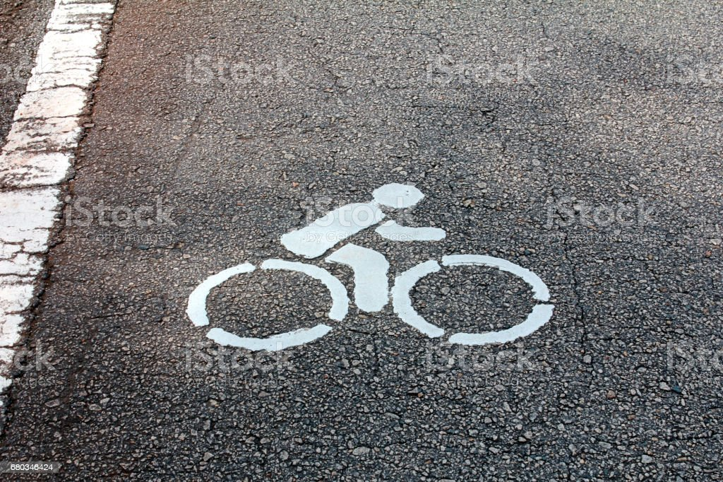 Sign of a bike on the road royalty-free stock photo