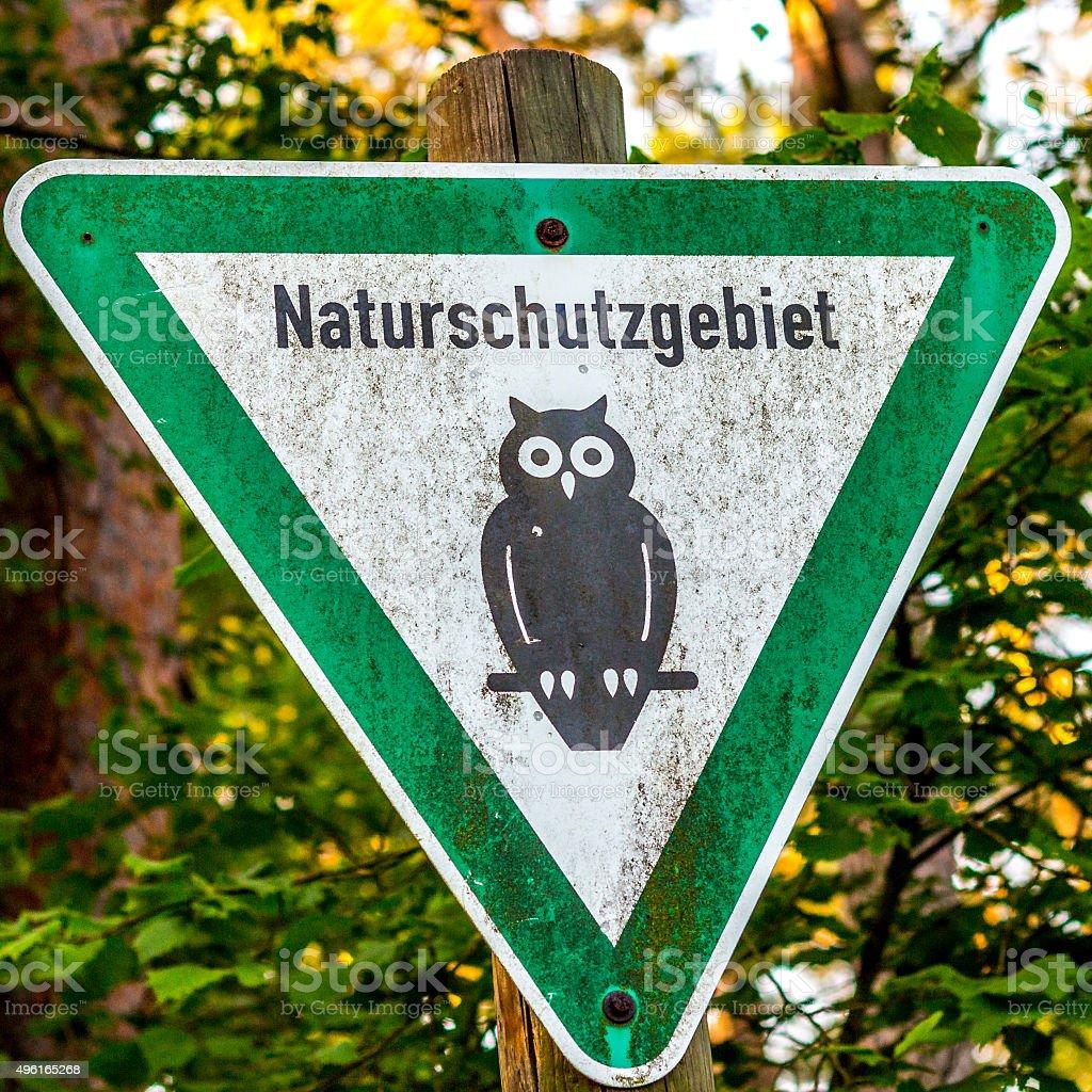 Sign of a german Nature Reserve / Naturschutzgebiet stock photo