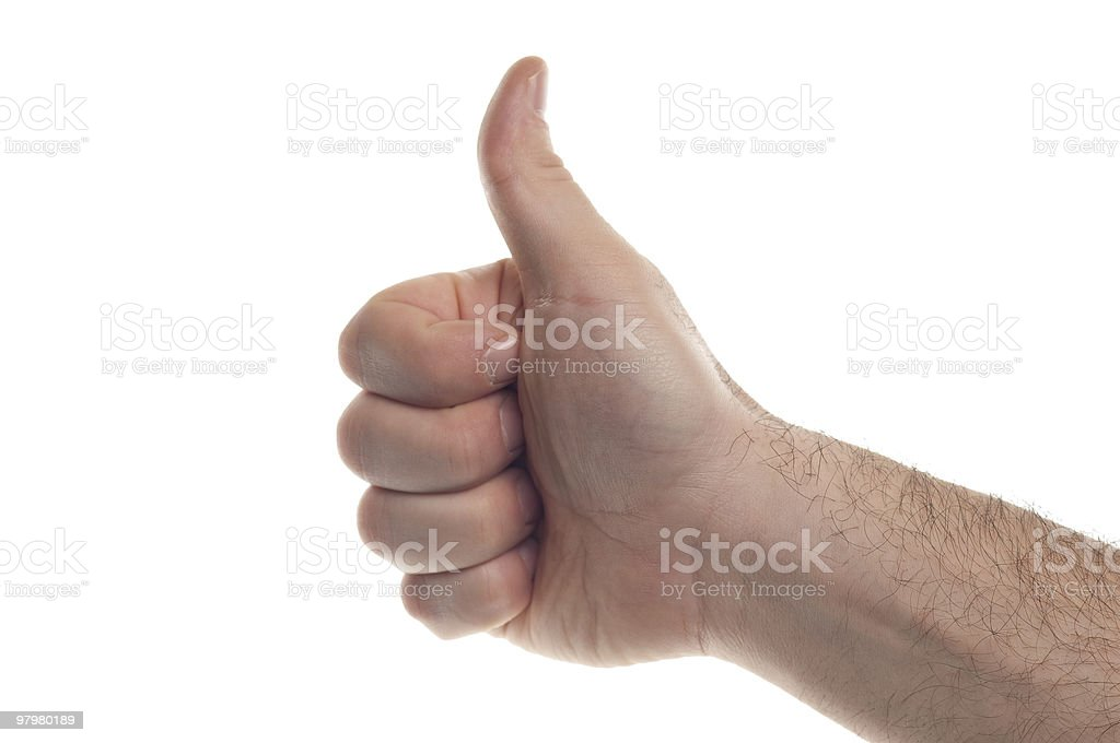 Sign of approval with the man's hand royalty-free stock photo