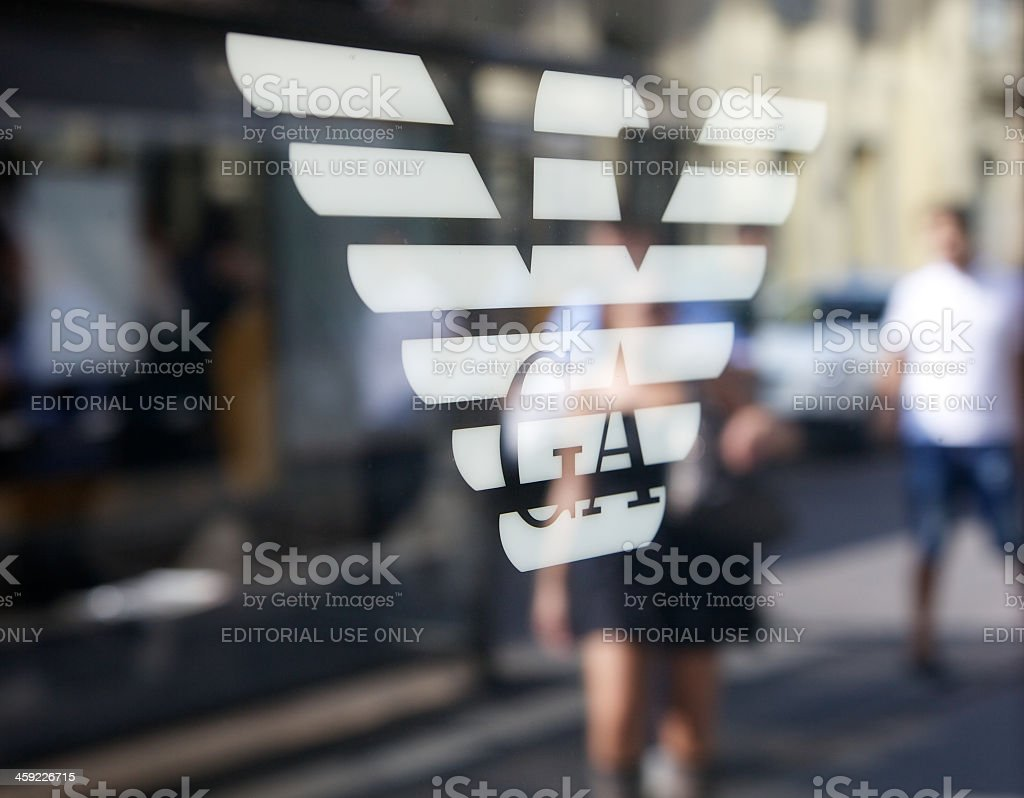 Sign Of Armani Store In Milan stock photo