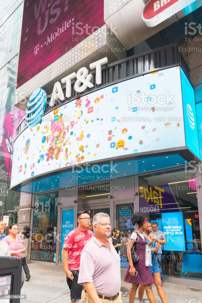 Sign of AT&T posted  in New York city, Times Square. stock photo