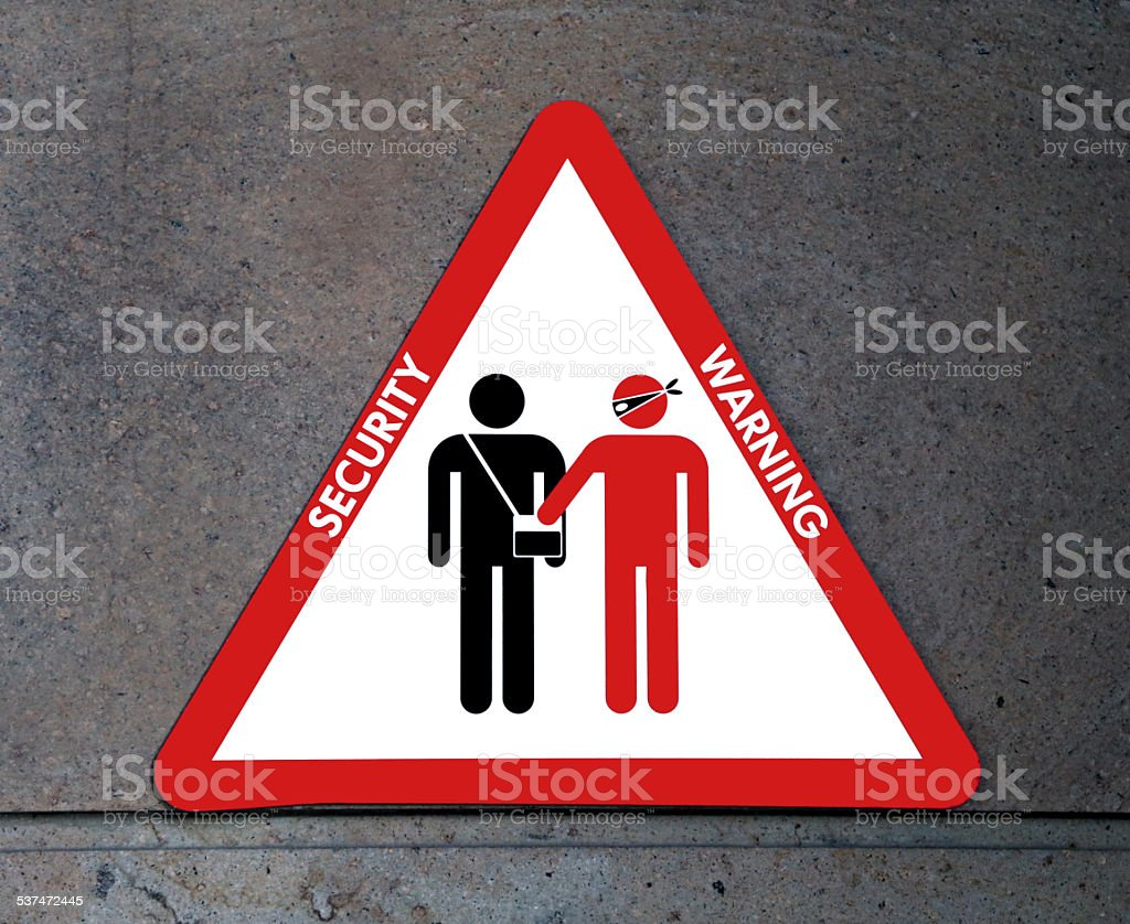 sign of attention to thieves and pickpockets stock photo