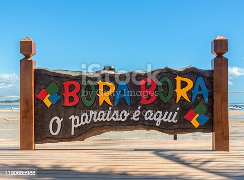 Tamandaré municipality, Pernambuco Brazil - November 23, 2019: Bora Bora is a gastronomy and leisure facility of Carneiros beach
