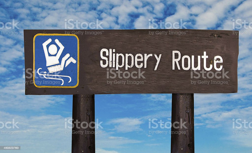 Sign of caution slippery royalty-free stock photo