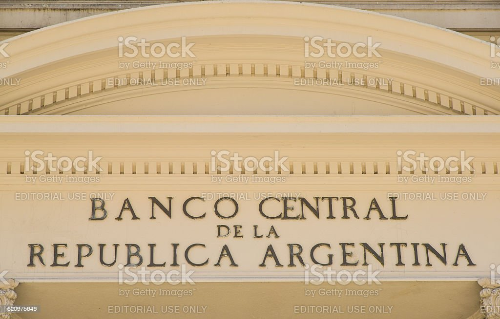 Sign of Central Bank of Argentina stock photo