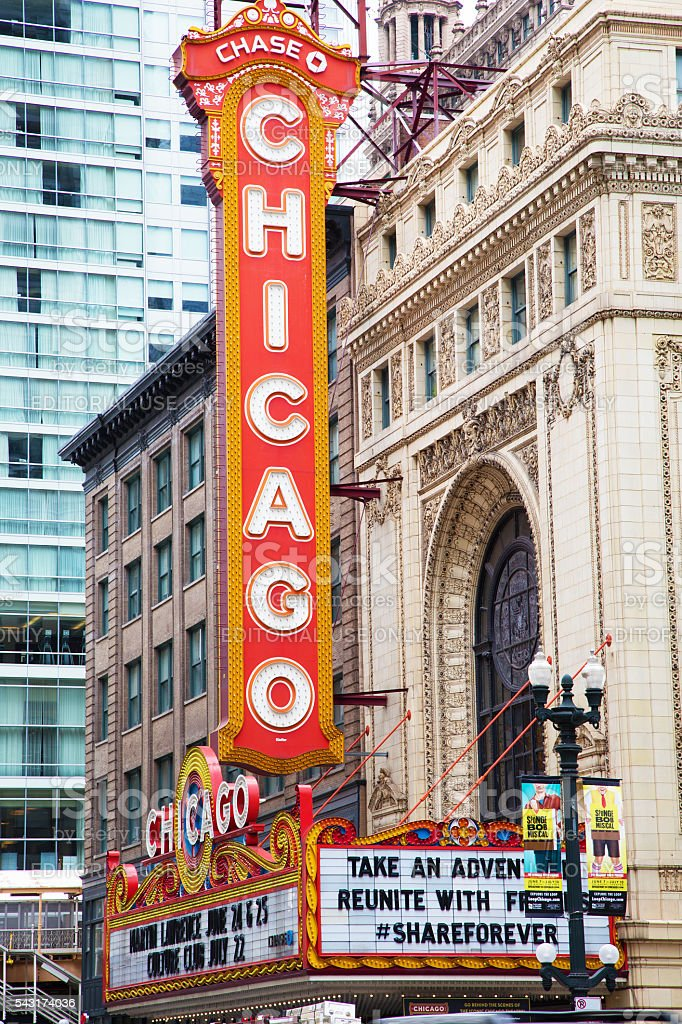 Sign of Chicago Theater stock photo