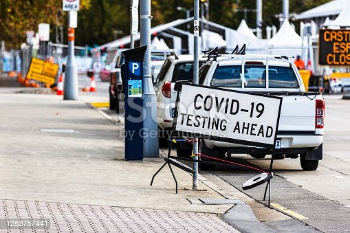 Sign Of COVID-19 Testing Ahead on the street in Hobart - Tasmania, with a COVID Clinic on the background