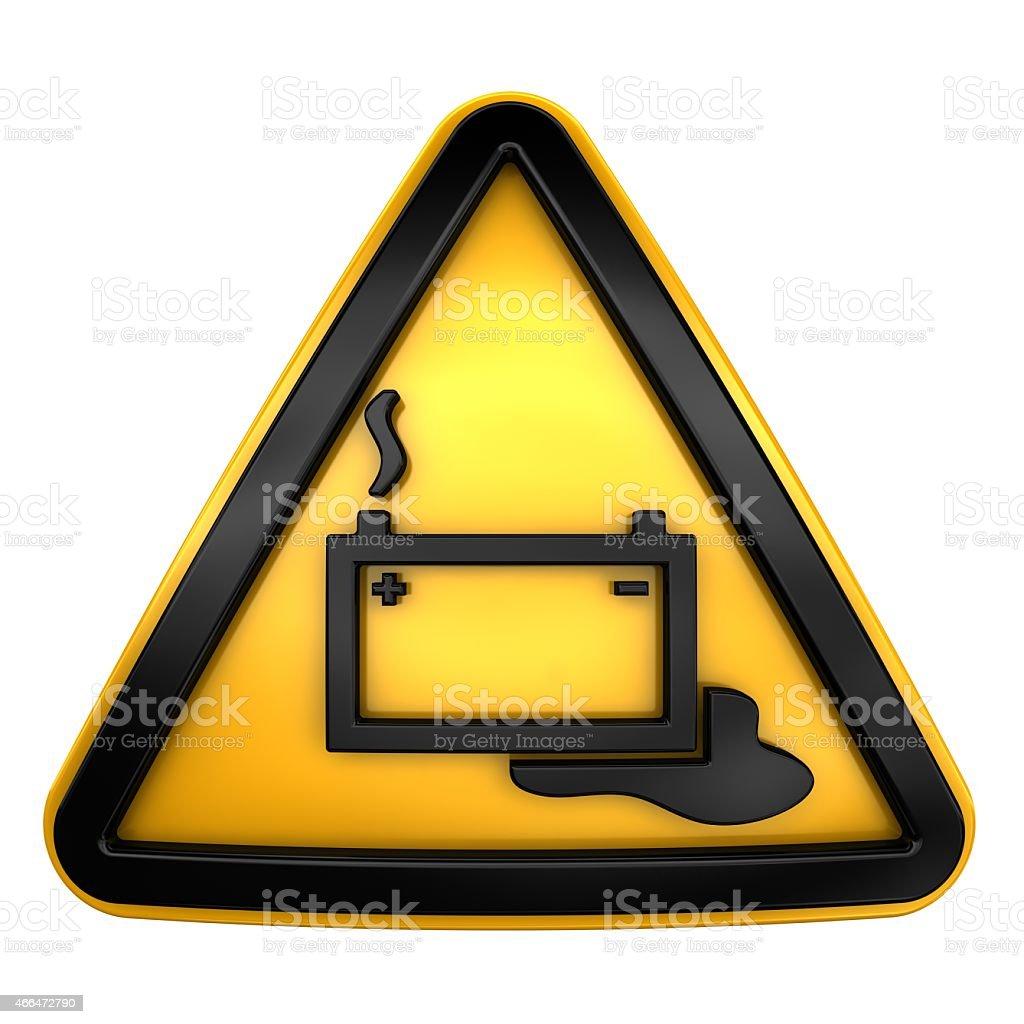 Sign of danger battery stock photo