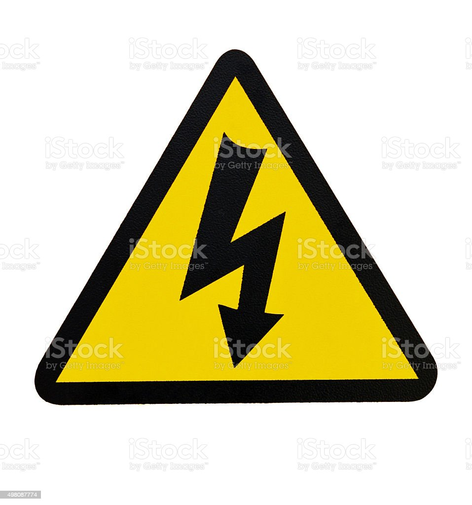 Sign of Danger High Voltage Symbol isolated on White background. stock photo