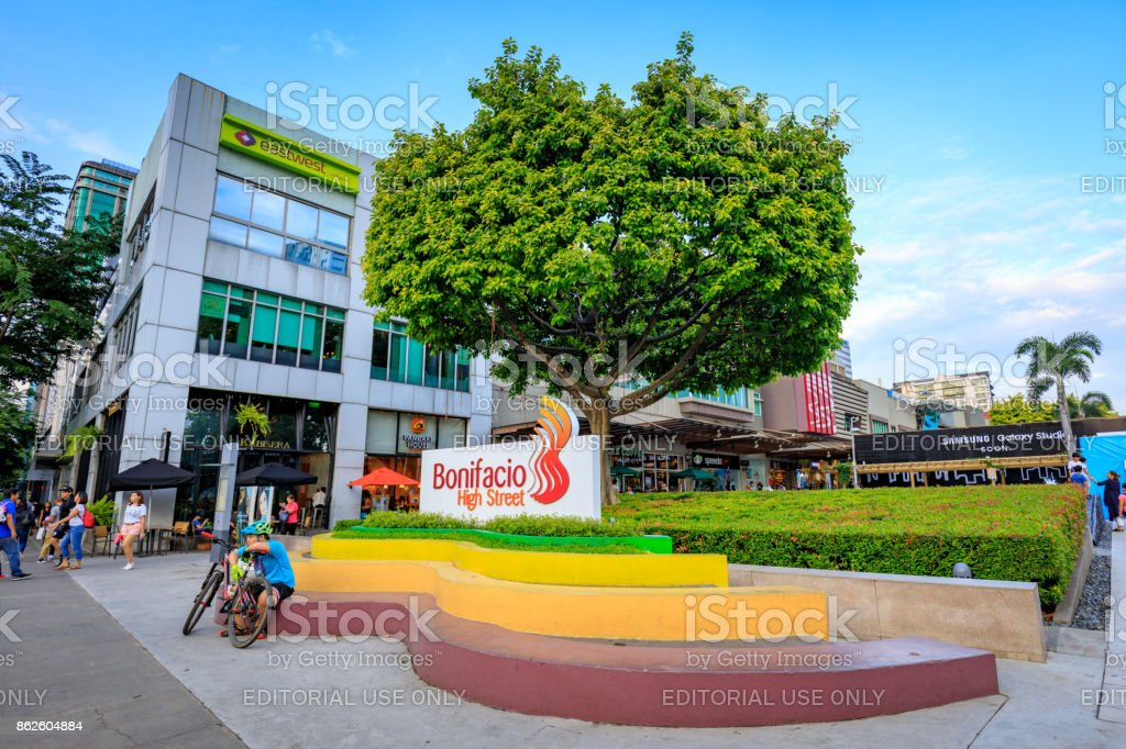 Sign of High street at fort bonifacio on Sep 1, 2017 in Taguig, Manila, Philippines stock photo