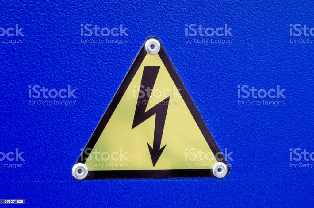 Sign of high voltage stock photo