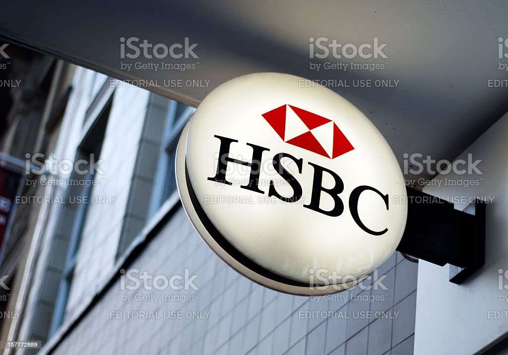 Sign of HSBC bank in Liverpool stock photo