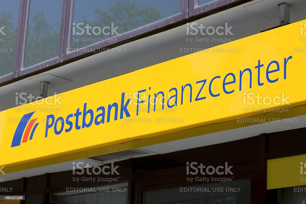 Sign of Postbank Finanzcenter royalty-free stock photo