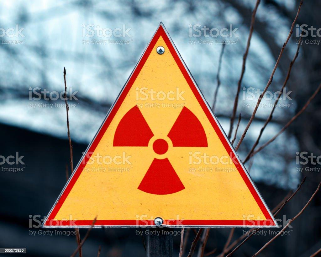 Sign of radioactivity stock photo