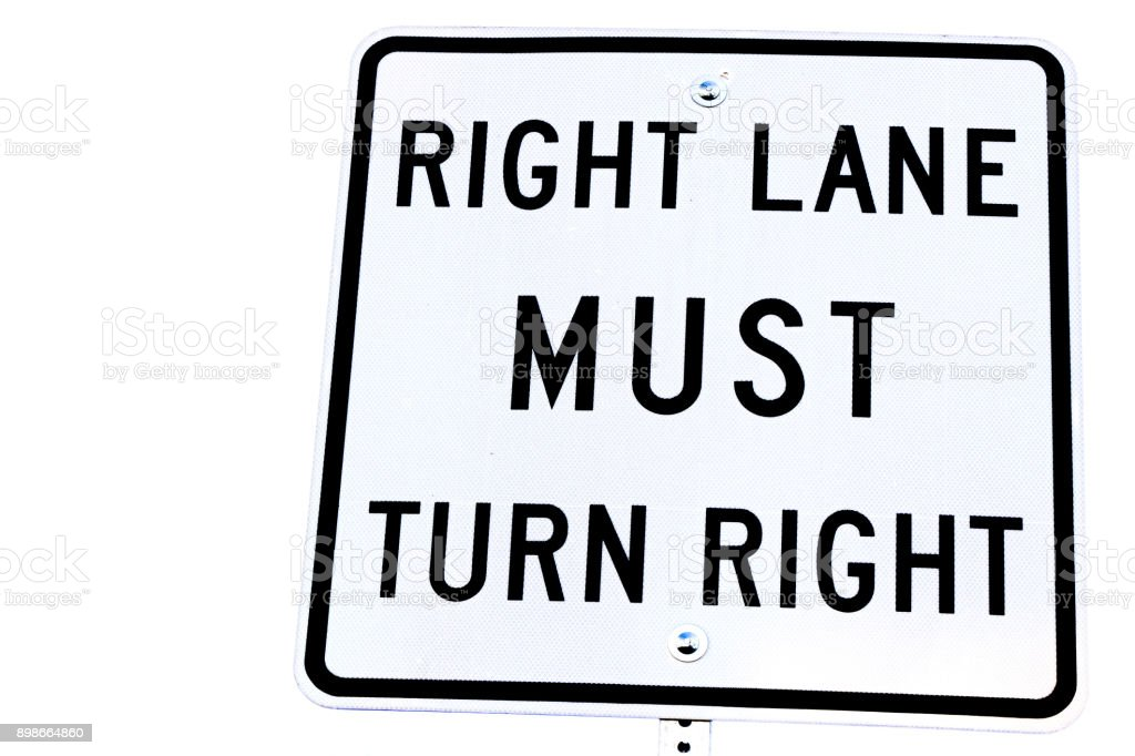 Sign of Right lane must turn right background of white color. stock photo
