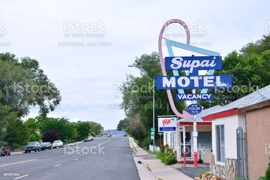 Sign of Supai Motel stock photo