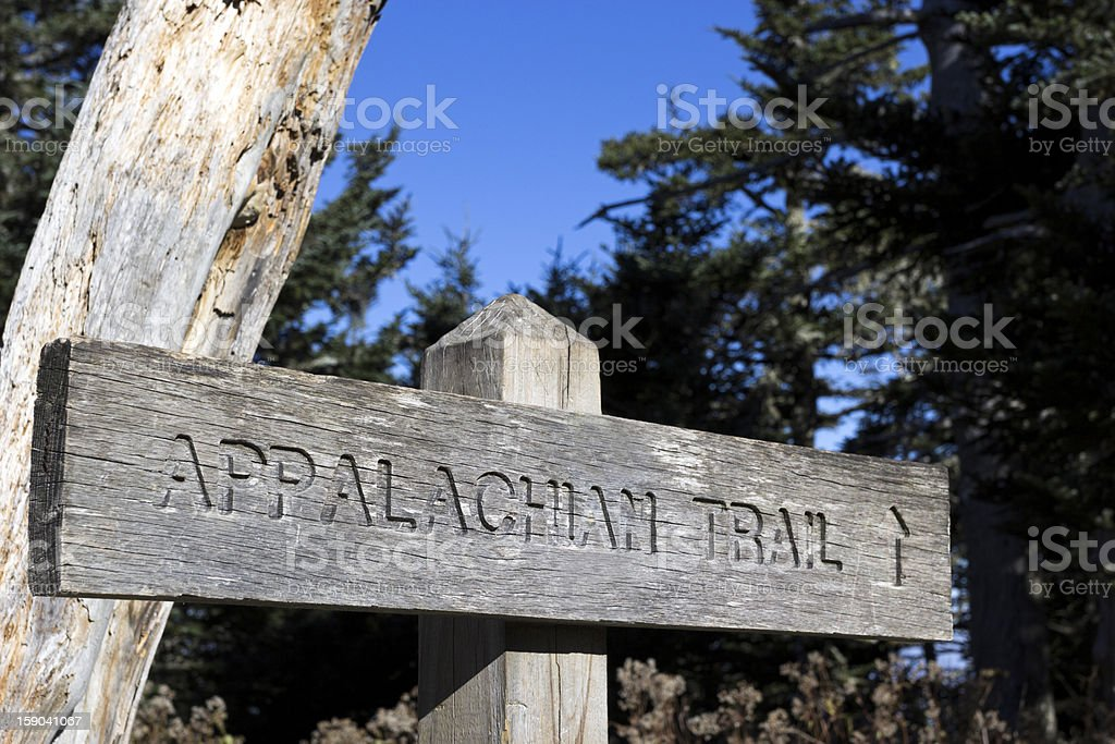 Sign of the Appalachian National Scenic Trail in Virginia stock photo