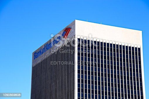 DOWNTOWN LAS VEGAS, NV, USA - Sep 16, 2018: Sign of the Bank of America on the top of the company building in Las Vegas Downtown. It is a Class A Office skyscraper and was completed in 1974.