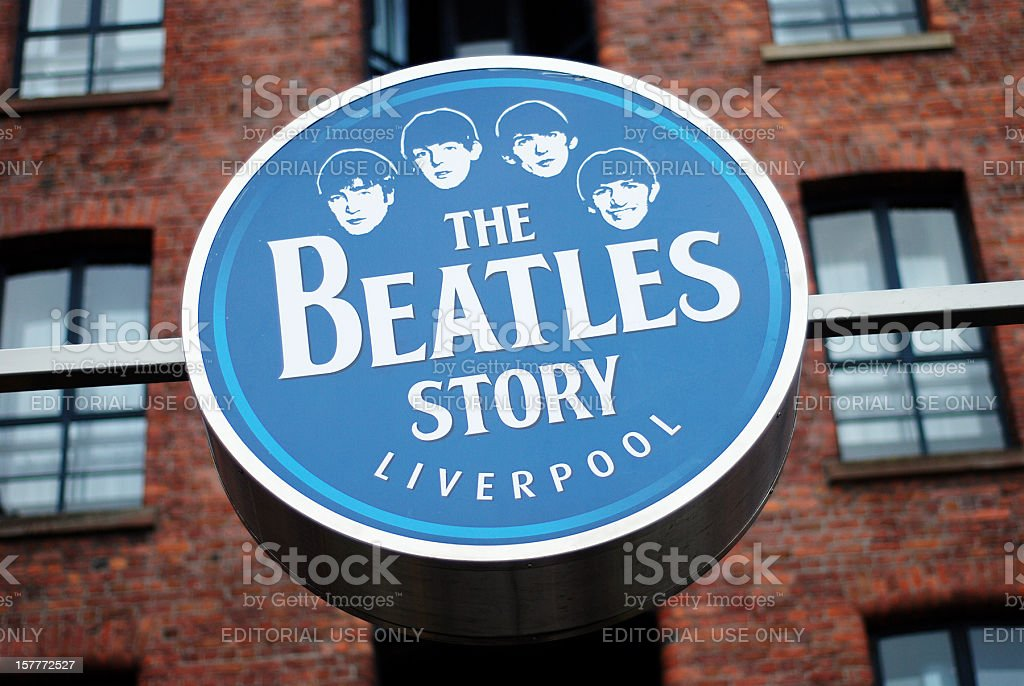 Sign of The Beatles Story museum in Liverpool Albert Dock stock photo