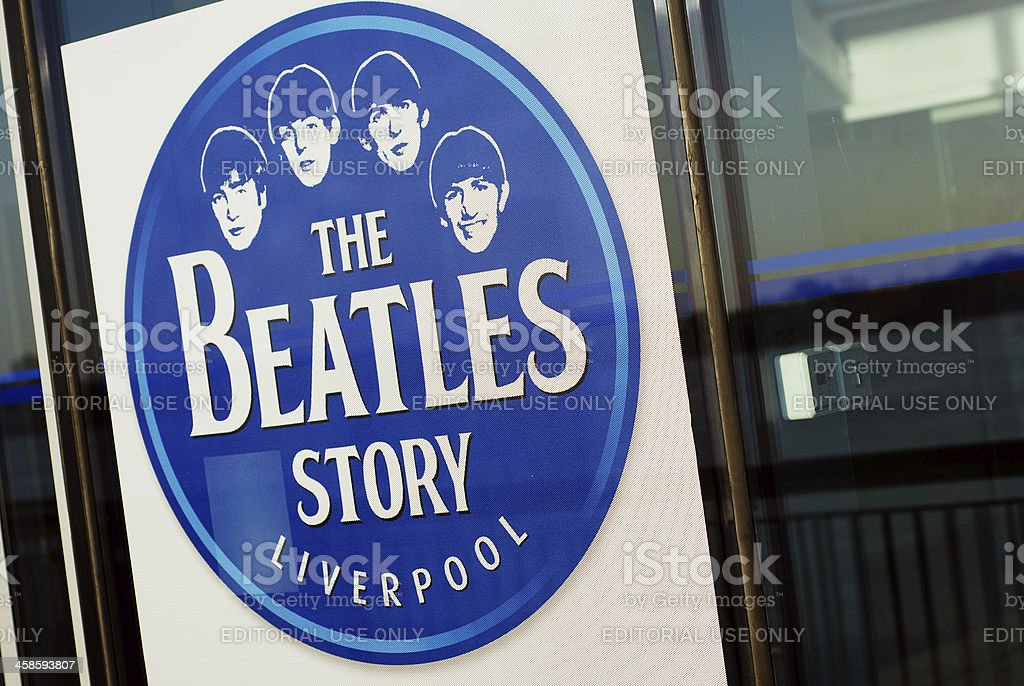 Sign of The Beatles Story museum in Liverpool stock photo