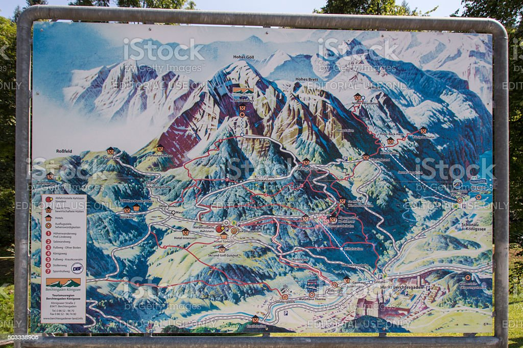 Sign of the Kehlstein area, Obersalzberg in Germany, 2015 stock photo