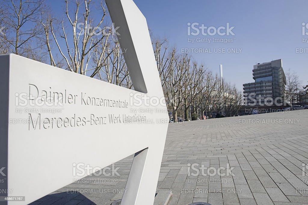 Sign of the Mercedes-Benz headquarter, Stuttgart, Germany. stock photo