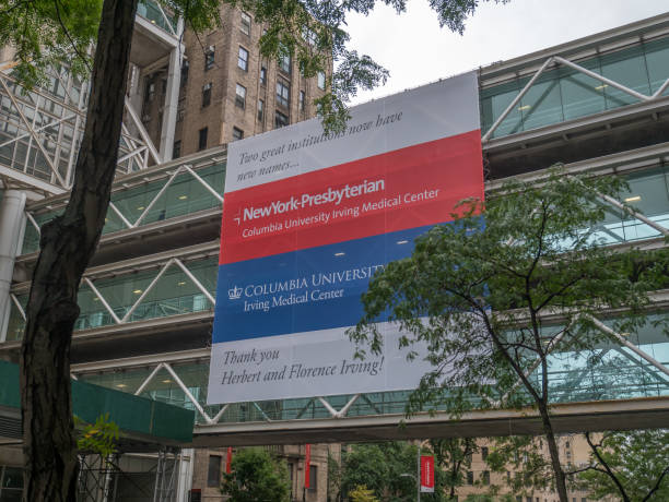 New York City, Usa - September 9, 2018: Sign of the New York Presbyterian hospital and medical center. stock photo