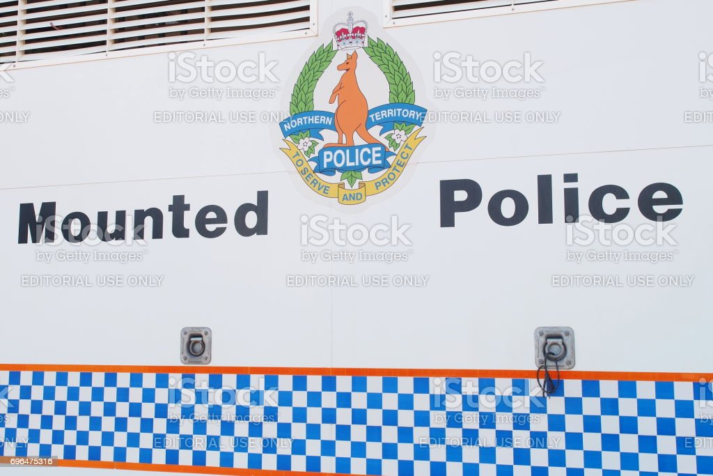 Sign of the Northern Territory mounted police services on a truck stock photo
