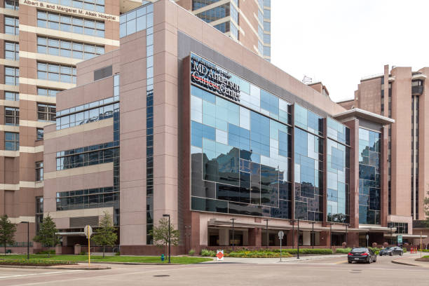 sign of The University of Texas MD Anderson Cancer Center on the building in Houston, USA stock photo