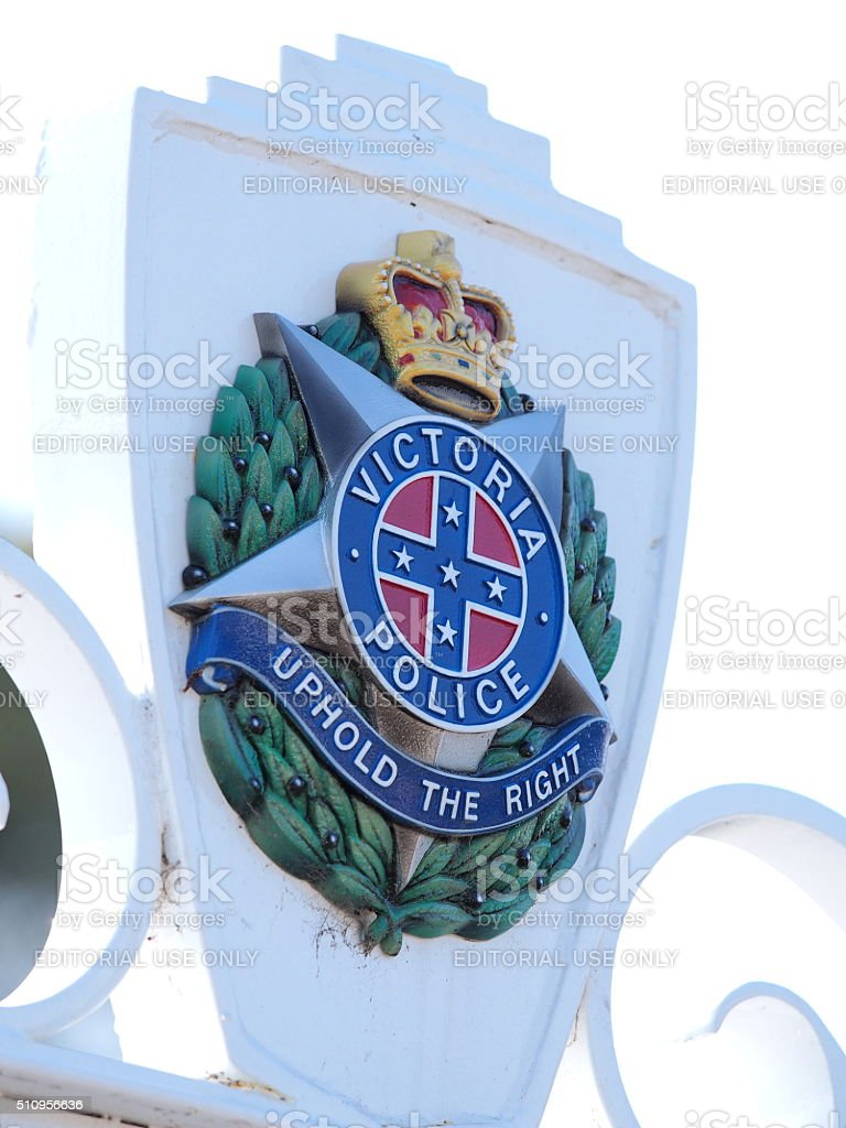 Sign of the Victorian Police Academy stock photo