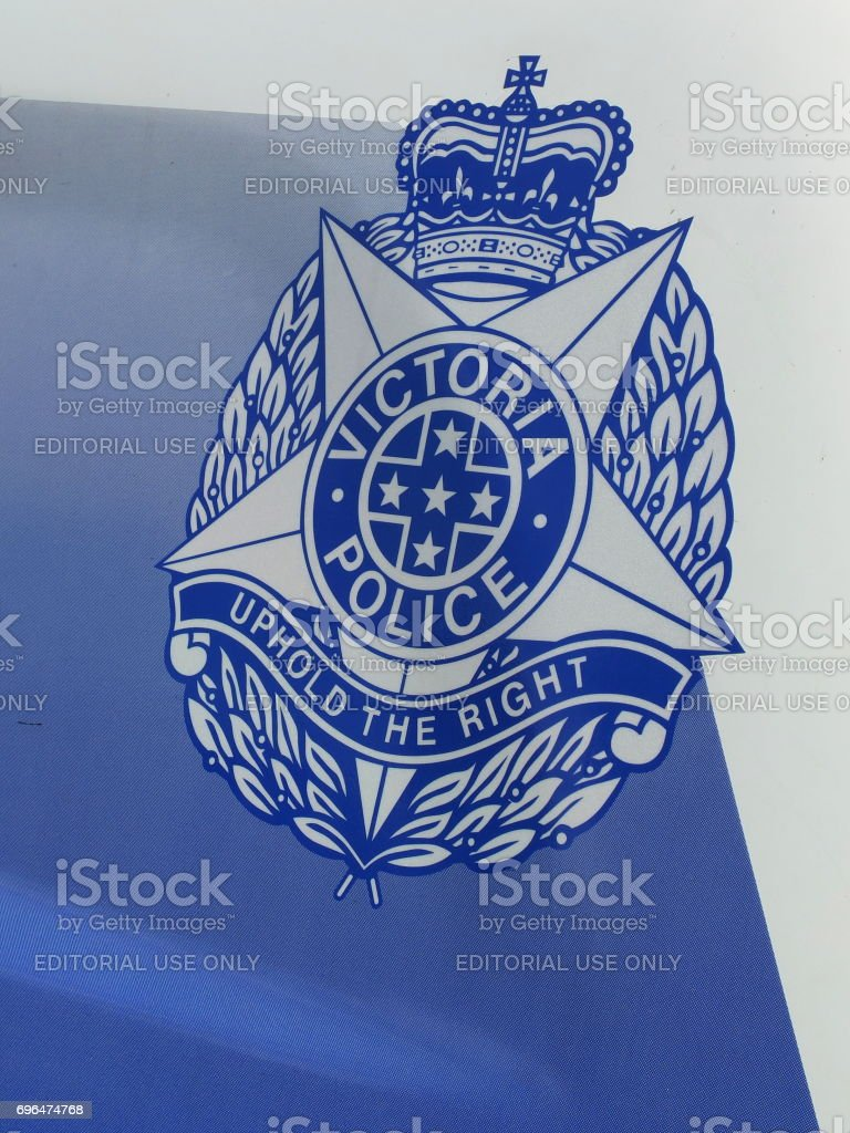Sign of the Victorian Police on a Police car stock photo