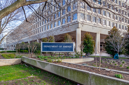 Washington D.C., USA - February 29, 2020: Sign of United States Department of Energy (DOE) outside their headquarters building in Washington, D.C. USA.