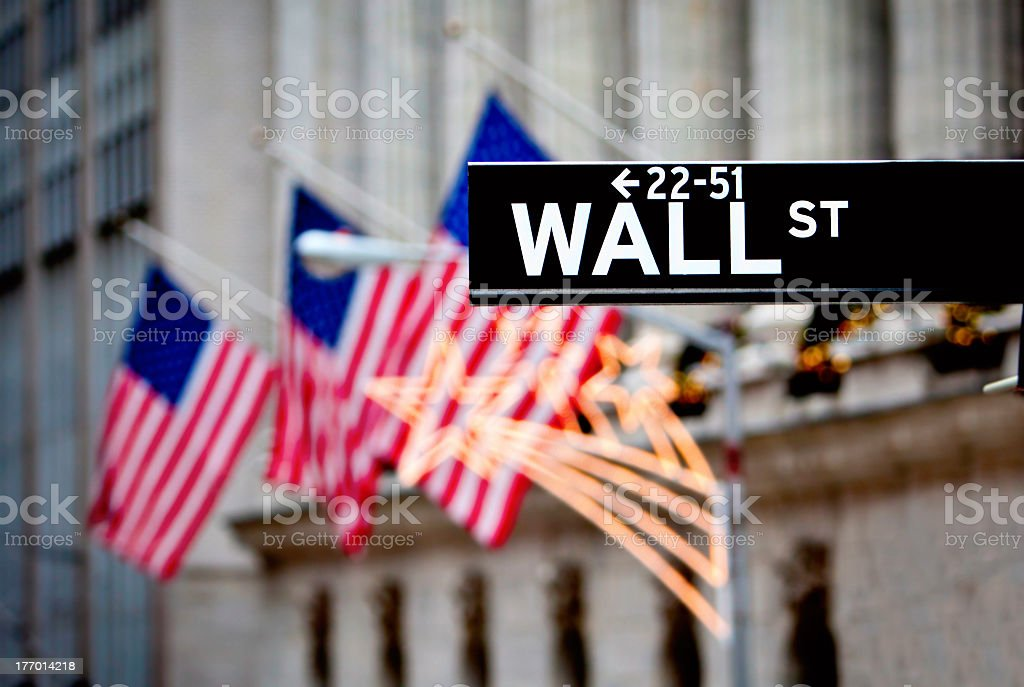 Sign of Wall Street with flags in the background stock photo