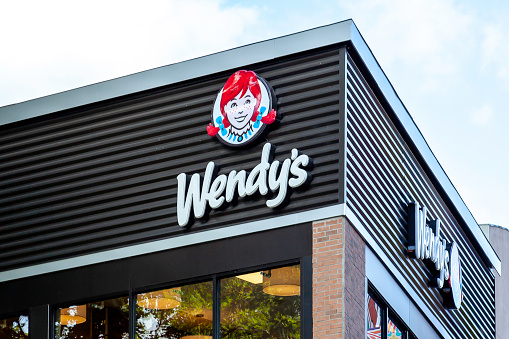 Sign Of Wendys Restaurant In Niagara Falls Ontario Canada Stock Photo - Download Image Now
