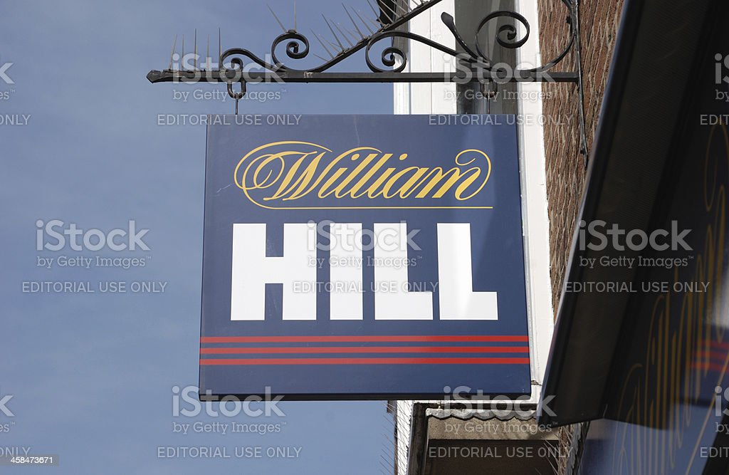 Sign of William Hill Bookmakers stock photo