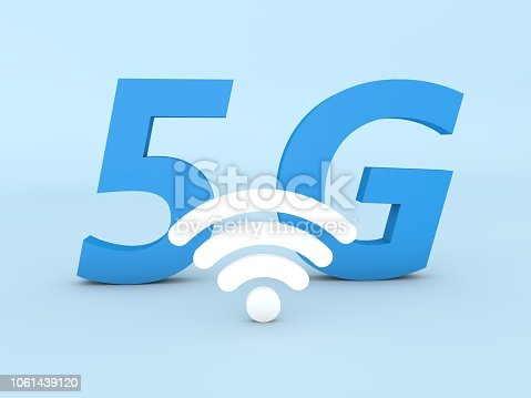 istock 5 G sign on a blue background. 1061439120