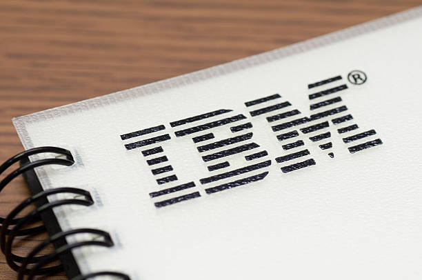 IBM sign on a notebook stock photo