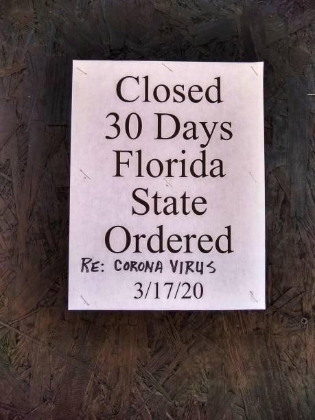 Sign on building Closed Corina virus stock photo