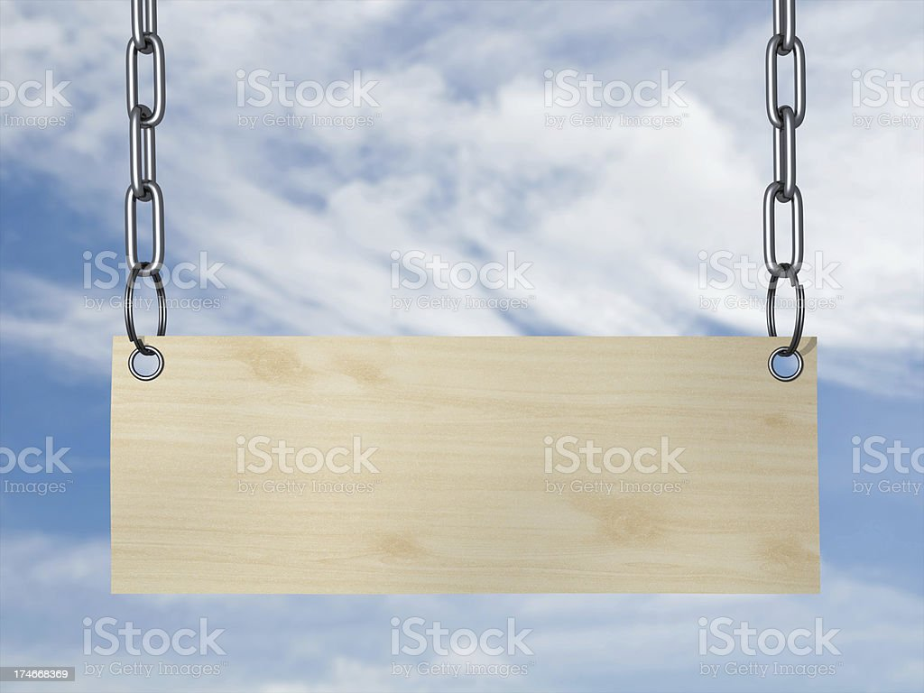 Sign on chain stock photo