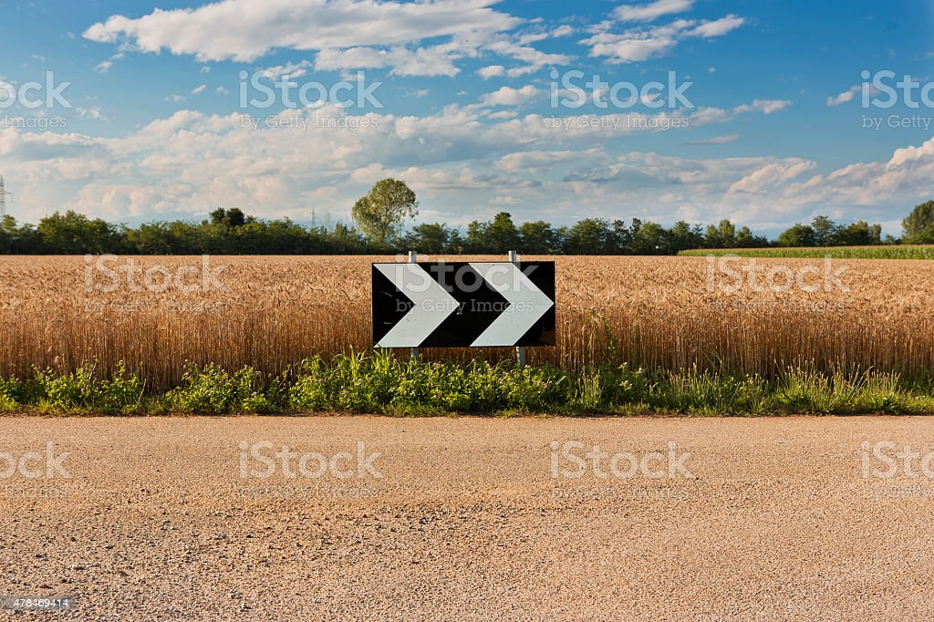 sign on country road stock photo