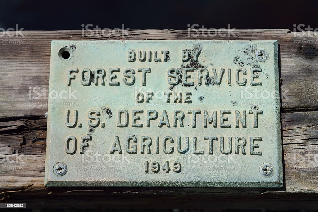 Sign on Forest Service Built Bridge stock photo