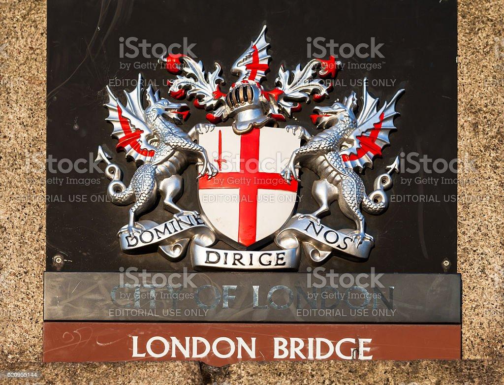 Sign on London Bridge. London, UK stock photo