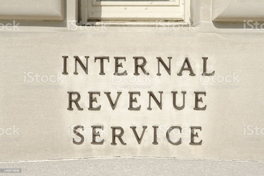 Sign on Main IRS Building in Washington, DC, United States stock photo
