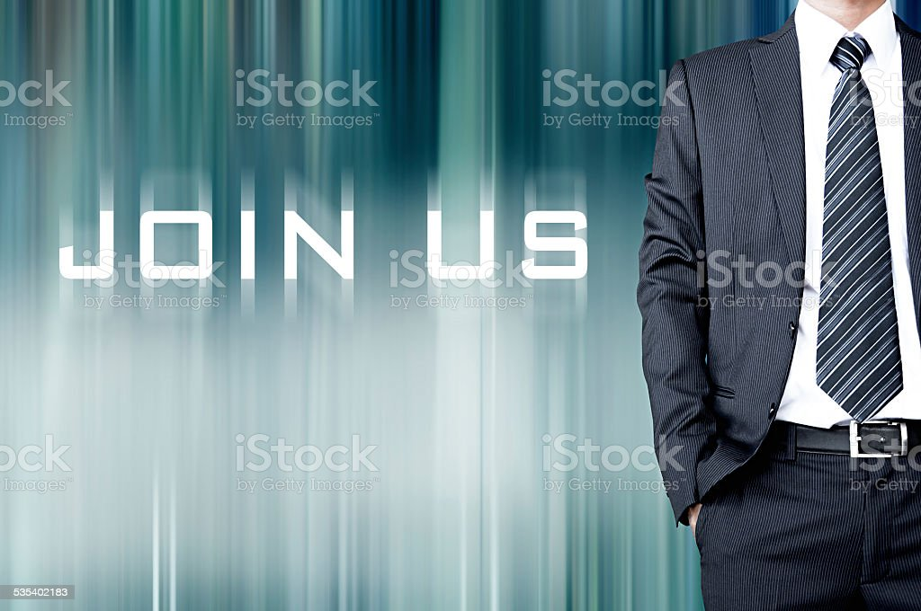 JOIN US sign on motion blur abstract background stock photo