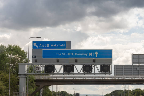 Sign on Motorway in England stock photo